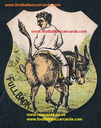 1880s full back comic football terms shield shape card by Briggs Baines Richardson or Sharpe