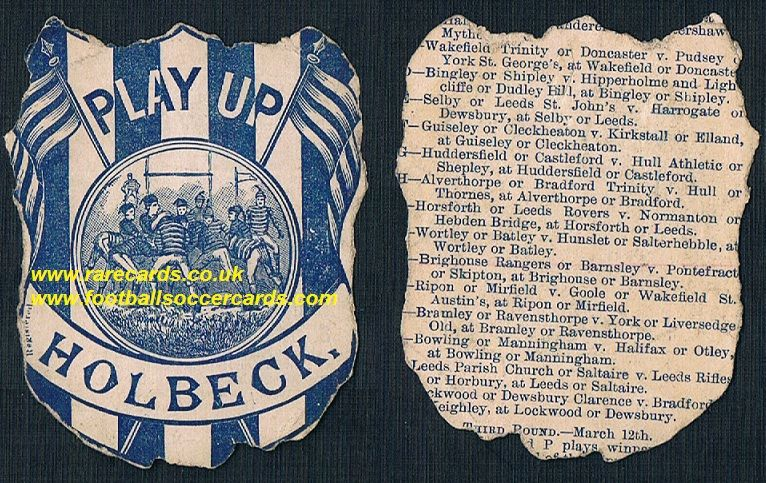1880s Richardson Leeds City Holbeck fixtures programme shield card