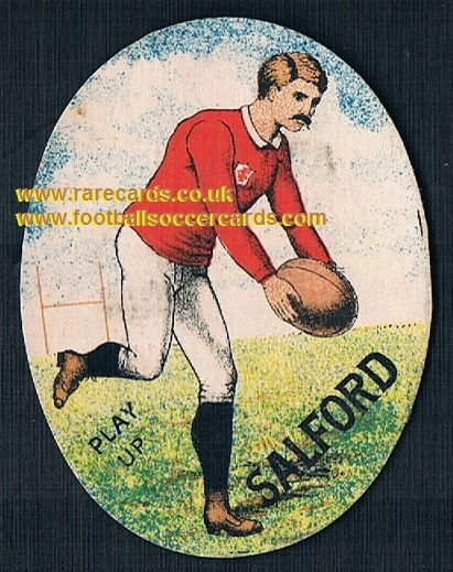 1880s Richardsons Play Up Salford rugby club oval trade card