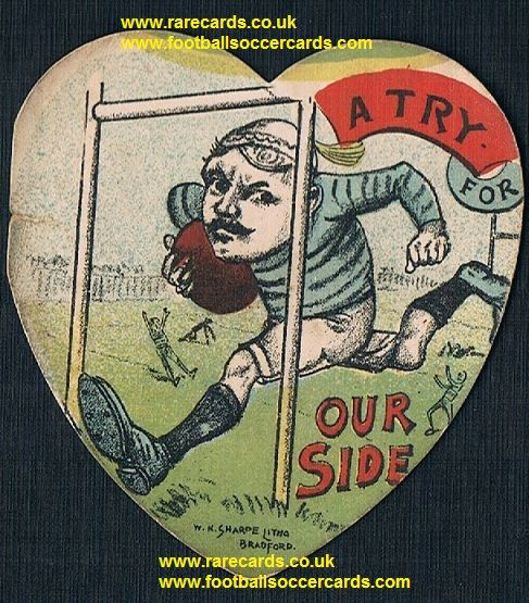 1890 W.N. Sharpe puzzle card 105 A Try For Our Side rugby heart-shape card