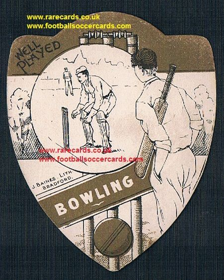1890s Bowling cricket club on a Baines cricket trade card
