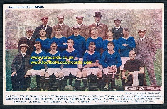 1908 Motherwell colour postcard issued with IDEAS mag Well Steelmen Dossers Fir Park