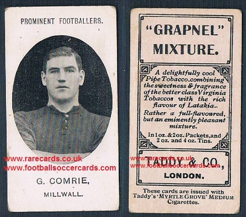 1908 Taddy 2nd series G Comrie Millwall footnote tobacco card