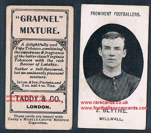1908 Taddy 2nd series J Blythe Millwall footnote tobacco card