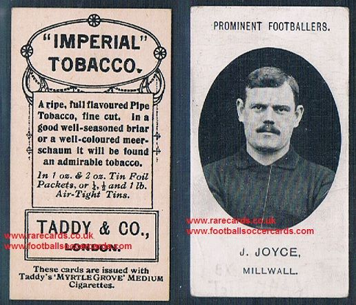 1908 Taddy 2nd series J Joyce Millwall footnote tobacco card