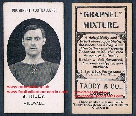 1908 Taddy 2nd series J Riley Millwall footnote tobacco card
