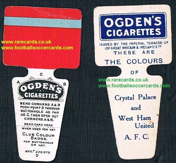 1909 Ogden Club Colour Badge cigarette card Crystal Palace West Ham
