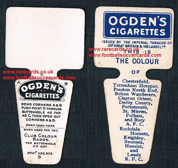 1909 Ogden Club Colour Badge cigarette card Spurs Swansea Derby Bolton Leeds