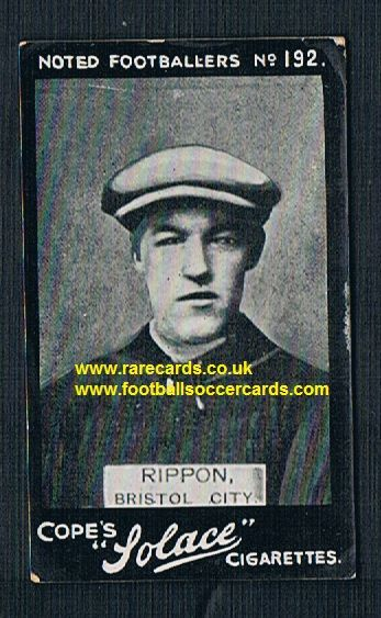 1910 Cope Bros. Solace cigarette 192 Rippon Bristol City