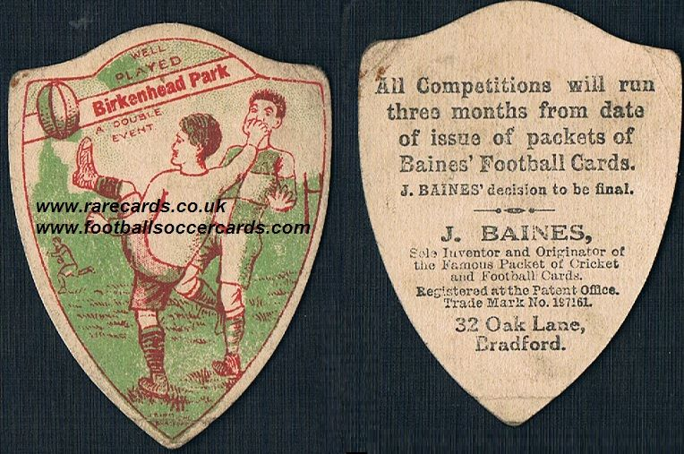 1918 Birkenhead Park rugby  shield-shaped Baines  football card