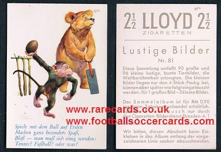 1920s German Lloyd cigarette card cricket cartoon monkey and bear