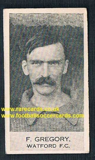 1922 Fred Gregory Watford Clarnico Poppleton football trade card