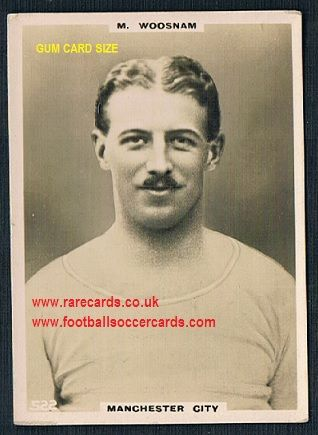 1922 Max Woosnam GUM CARD SIZE 522 Manchester City sporting legend