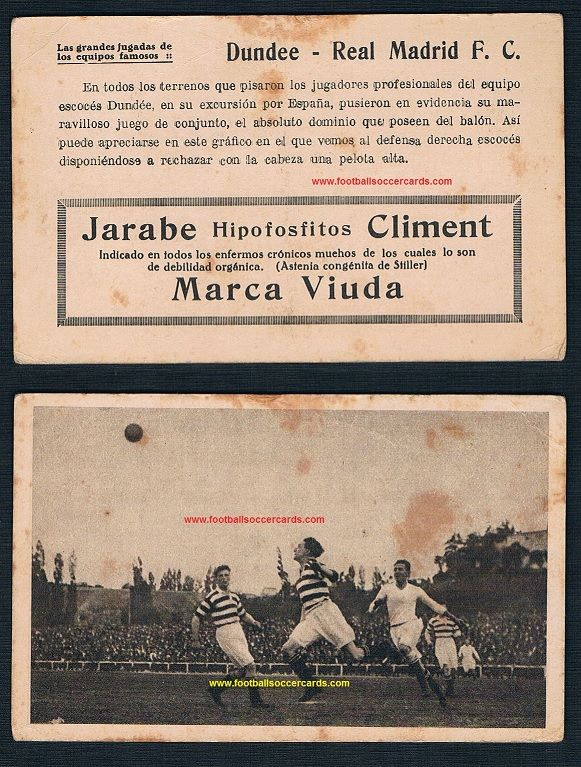1923 Dundee FC v Real Madrid Spanish card by Jarabe Climent