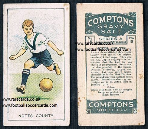1923 Notts County Compton's series A 15  coloured card