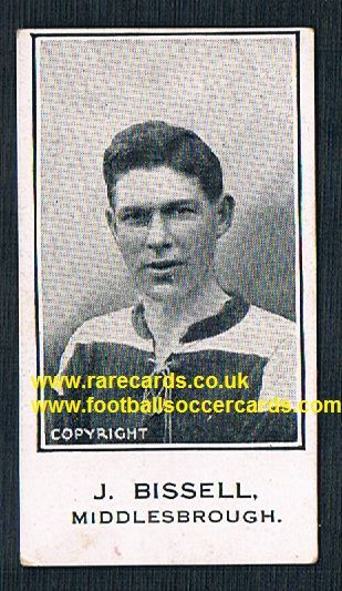 1925 Bissell Middlesbrough Barratt & Co Sherbet Novelties football trade card