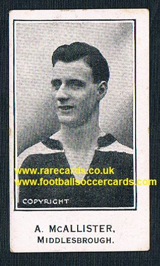 1926 McAllister Middlesbrough Barratt & Co Sherbet Novelties football trade card