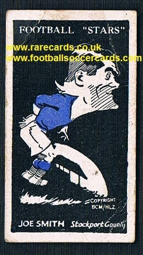 1928 Barratt football LEGEND Joe Smith Bolton Stockport County XMAS CLUB  type