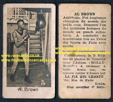 1930 Pie Qui Chante French boxing card Panama Al Brown Bantamweight Hall of Famer