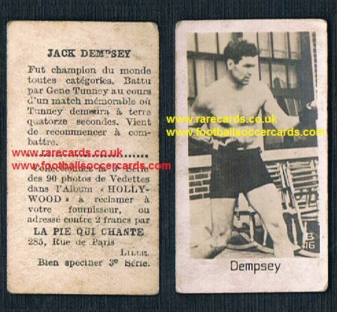 1930 Pie Qui Chante French card Jack Dempsey boxing Hall of Fame legend