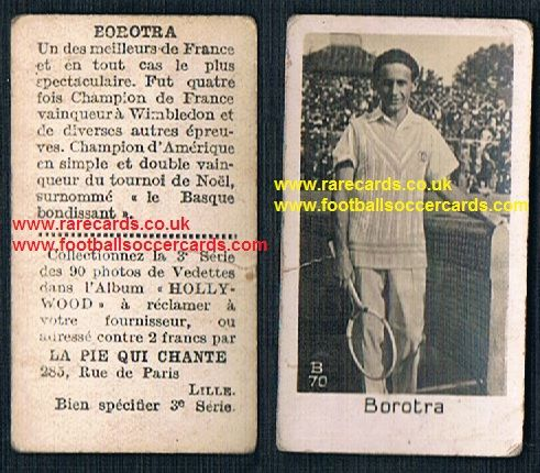 1930 Pie Qui Chante French card Jean Borotra very rare tennis sports trade card