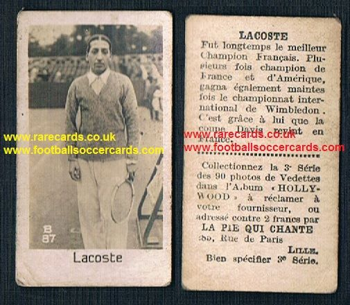 1930 Pie Qui Chante French card Rene Lacoste very rare tennis sports trade card