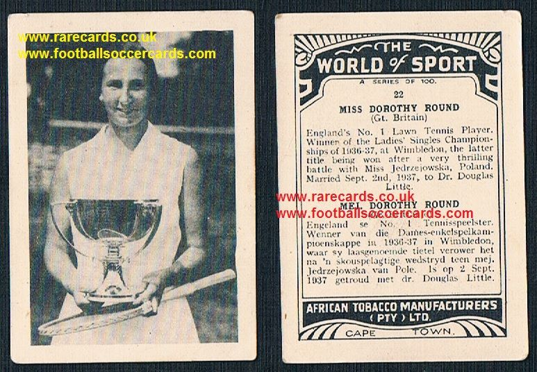 1930's South African Tobacco Cape Town World of Sport Dorothy Round 22 tennis card