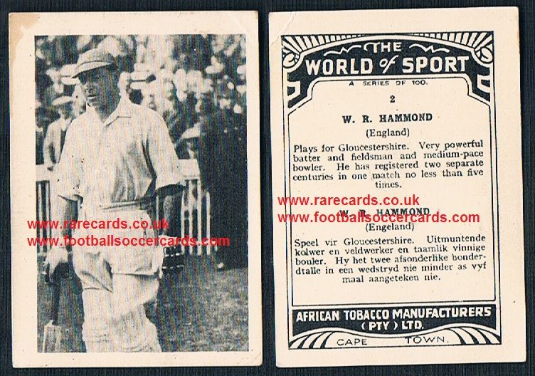 1930's South African Tobacco World of Sport cricket card Wally Hammond 2 Gloucestershire CCC
