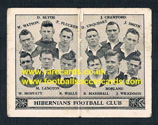1934 Barratt Scottish league div 1 football team folders card Hibs hibernians