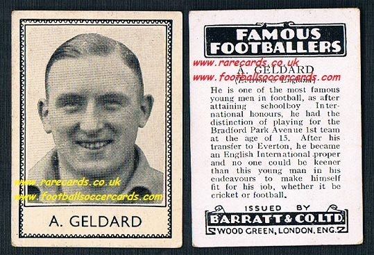 1935 A Geldard Bradford Park Ave Everton Barratt famous footballers black back  no number
