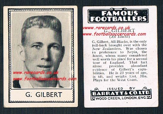 1935 All Blacks New Zealand rugby G. Gilbert Barratt famous footballers black back
