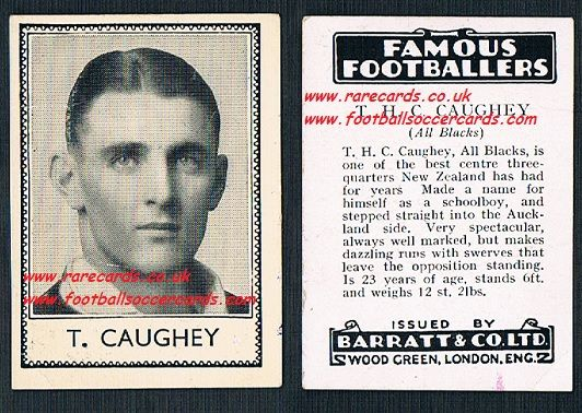 1935 All Blacks New Zealand rugby T.H.C. Caughey Barratt famous footballers black back