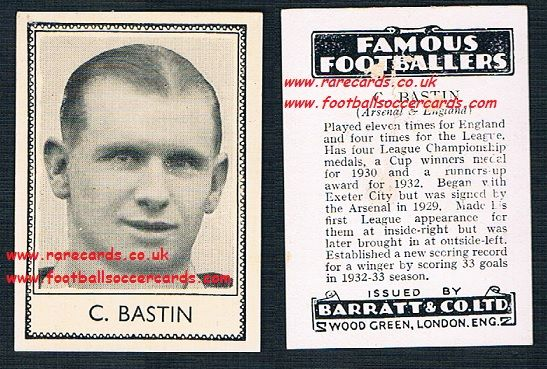 1935 Arsenal Cliff Bastin Barratt famous footballers black back  no number