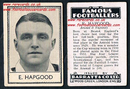 1935 Arsenal Ernie Hapgood Barratt famous footballers black back  no number