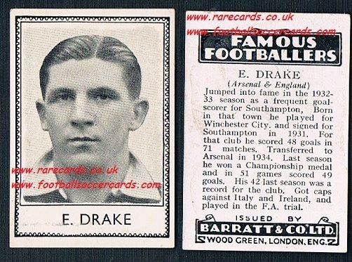 1935 Arsenal Winchester Saints Ted Drake Barratt famous footballers black back  no number