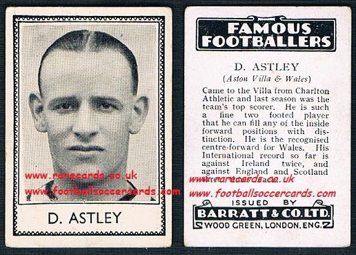 1935 Aston Villa D Astley Charlton Wales Barratt famous footballers black back  no number