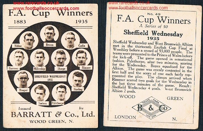 1935 Barratt F A Cup Winners 49 Sheffield Wednesday football card