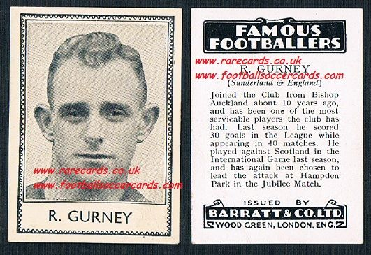 1935 Bishop Auckland Sunderland R.Gurney Barratt famous footballers black back  no number