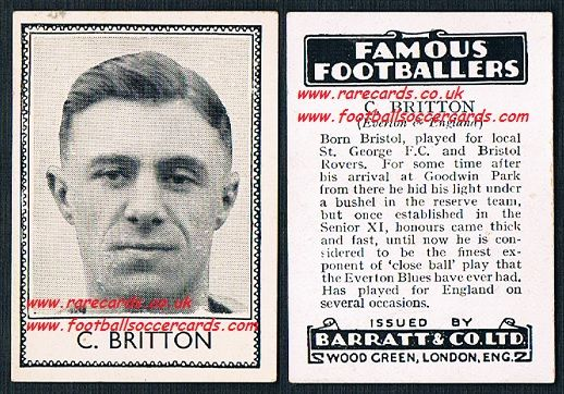 1935 C Britton Bristol Rovers Everton Barratt famous footballers black back  no number