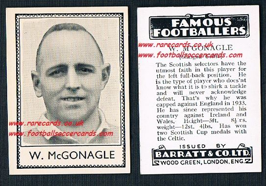 1935 Glasgow Celtic W McGonagle Barratt famous footballers black back  no number