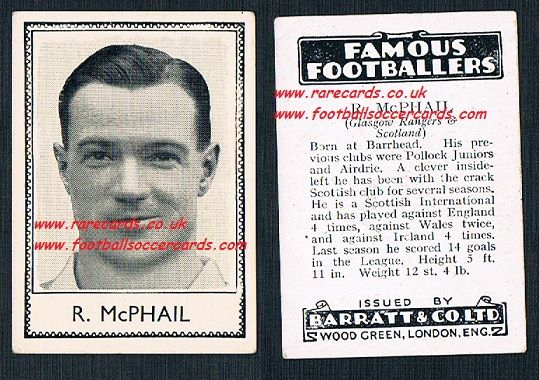 1935 Glasgow Rangers R. McPhail Airdrie Barratt famous footballers black back  no number