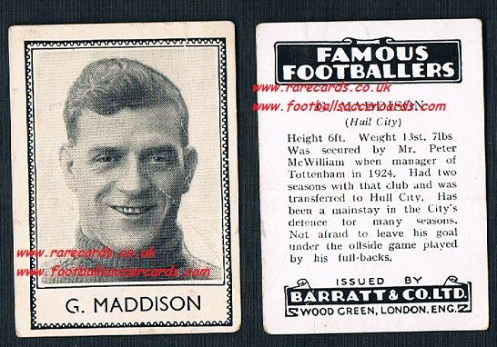 1935 Hull City Spurs G. Maddison Barratt famous footballers black back  no number