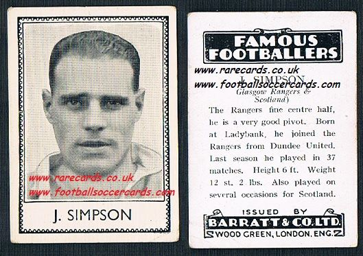 1935 Rangers Dundee United J Simpson Barratt famous footballers black back  no number