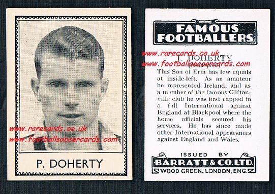 1935 rookie Peter Doherty Blackpool Derby Hudd Man City Ireland Barratt famous footballers black