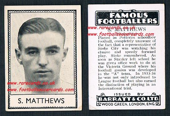 1935 rookie Stanley Matthews Stoke City Barratt famous footballers black back  no number