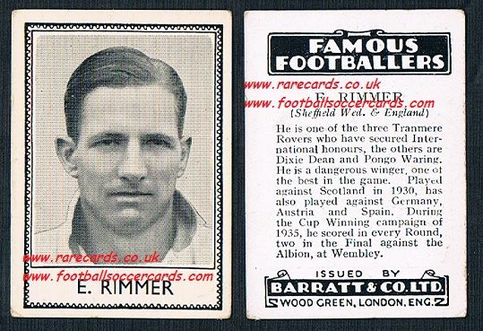 1935 Tranmere Rovers Wednesday E. Rimmer Barratt famous footballers black back  no number