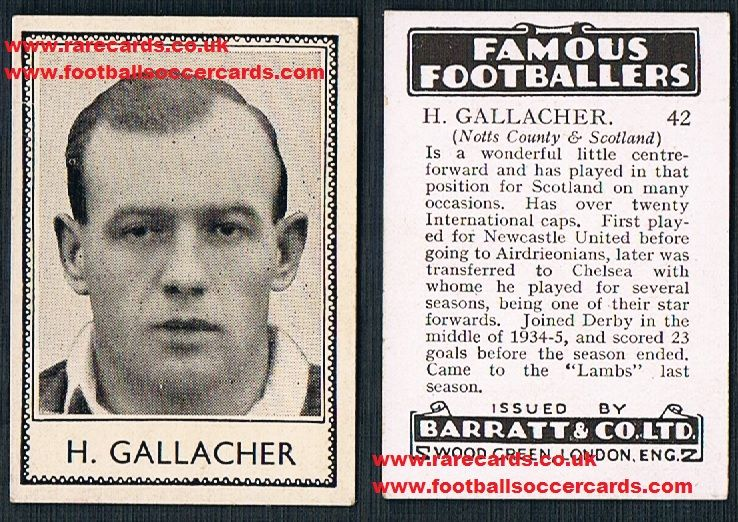 1937 Notts Co Hugh Gallacher 42 Barratt