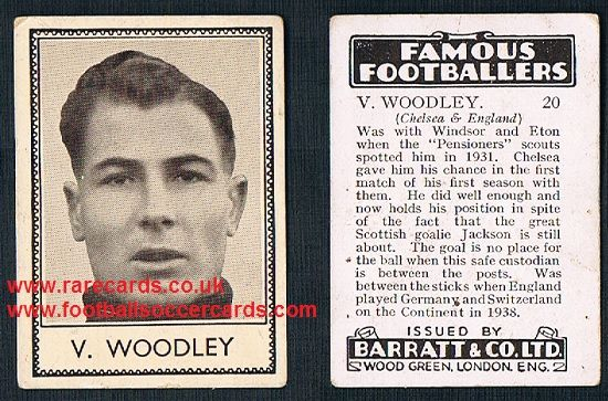 1938 Barratt Chelsea Vic Woodley 20 Famous Footballers D series