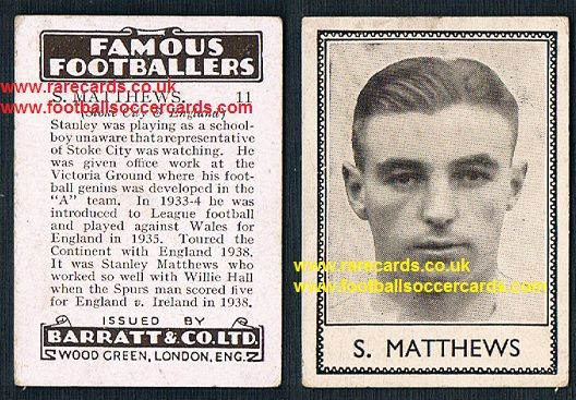 1938 Barratt Stanley Matthews 11 famous footballers D series Stoke City Blackpool