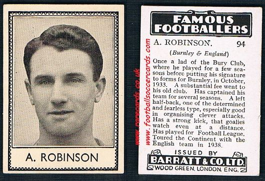 1939 A. Robinson 94 Bury & Burnley Barratt famous footballers E series card